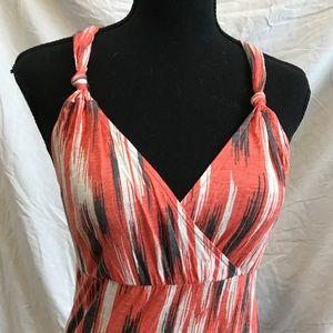 XS GAP Orange, Gray & White Midi Dress
